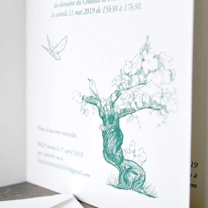 Faire part mariage traditionnel papier cahier livret illustration vergé graphiste graphisme bruxelles